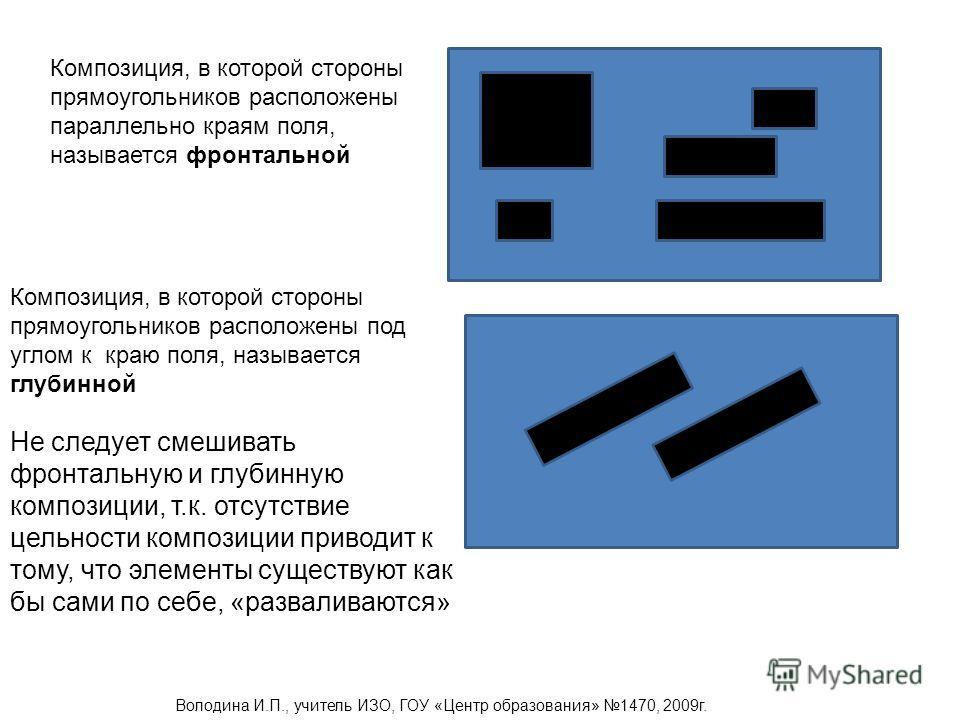 Композиция, в которой стороны прямоугольников расположены параллельно краям поля, называется фронтальной Композиция, в которой стороны прямоугольников расположены под углом к краю поля, называется глубинной Не следует смешивать фронтальную и глубинну