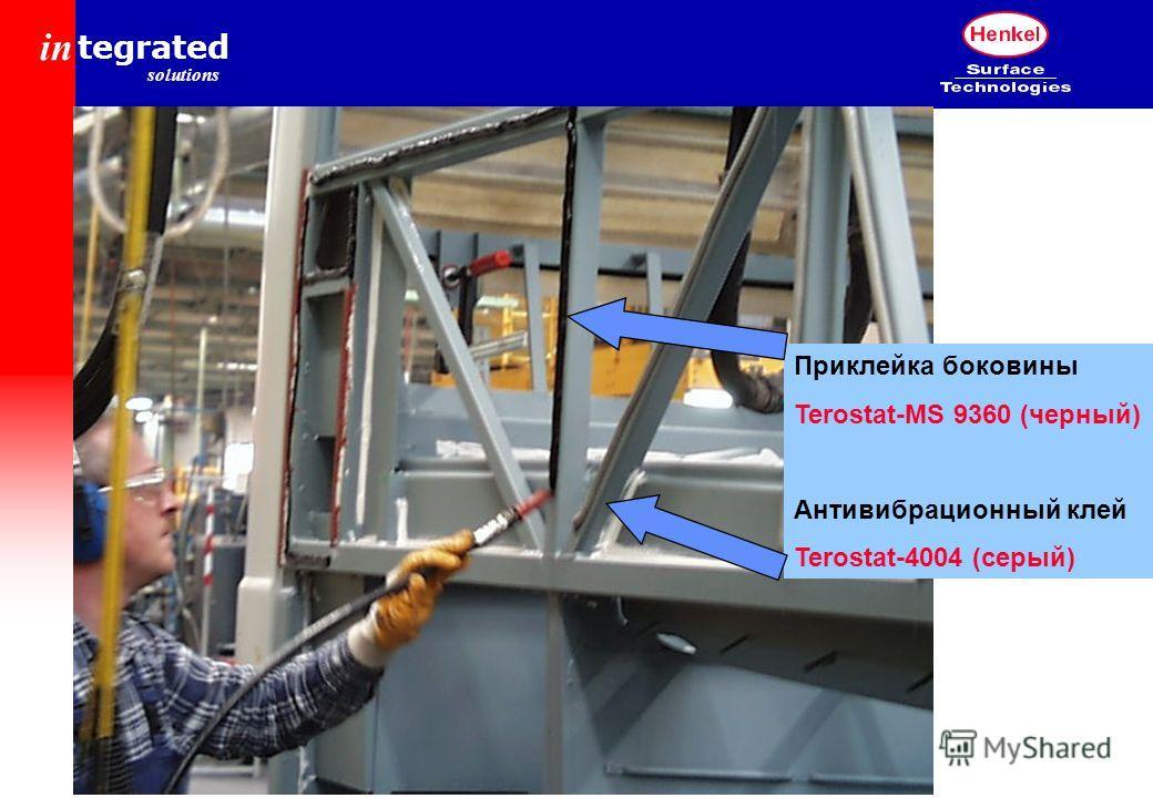 in tegrated solutions Приклейка боковины Terostat-MS 9360 (черный) Антивибрационный клей Terostat-4004 (серый)