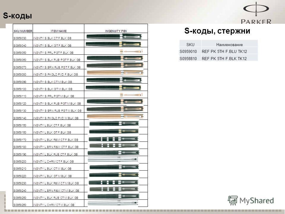 16 S-коды S-коды, стержни SKUНаименование S0959010REF PK 5TH F.BLU TK12 S0958810REF PK 5TH F.BLK TK12