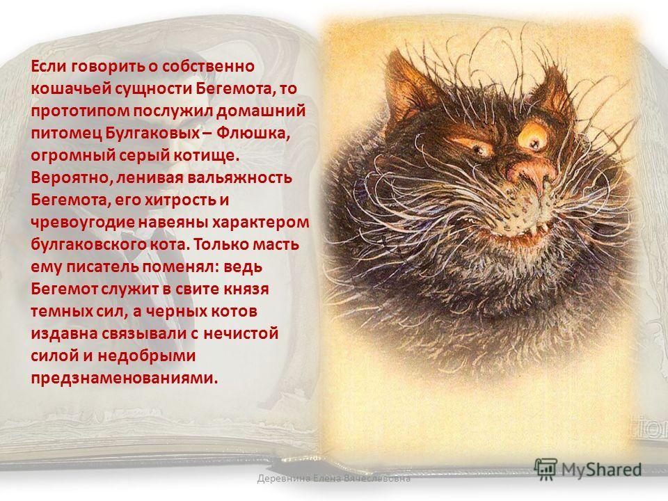 Если говорить о собственно кошачьей сущности Бегемота, то прототипом послужил домашний питомец Булгаковых – Флюшка, огромный серый котище. Вероятно, ленивая вальяжность Бегемота, его хитрость и чревоугодие навеяны характером булгаковского кота. Тольк