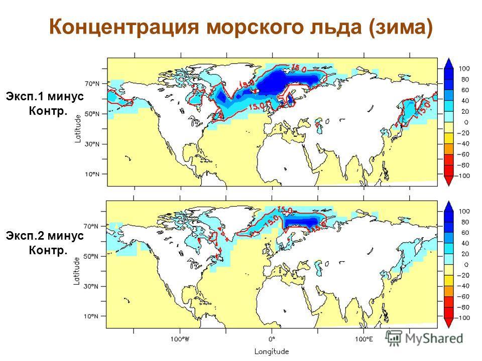 Концентрация морского льда (зима) Эксп.1 минус Контр. Эксп.2 минус Контр.