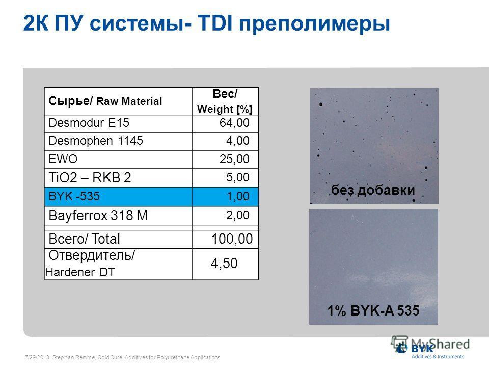 2К ПУ системы- TDI преполимеры Сырье/ Raw Material Вес/ Weight [%] Desmodur E1564,00 Desmophen 11454,00 EWO25,00 TiO2 – RKB 2 5,00 BYK -5351,00 Bayferrox 318 M 2,00 Всего/ Total 100,00 Отвердитель/ Hardener DT 4,50 без добавки 1% BYK-A 535 7/29/2013,