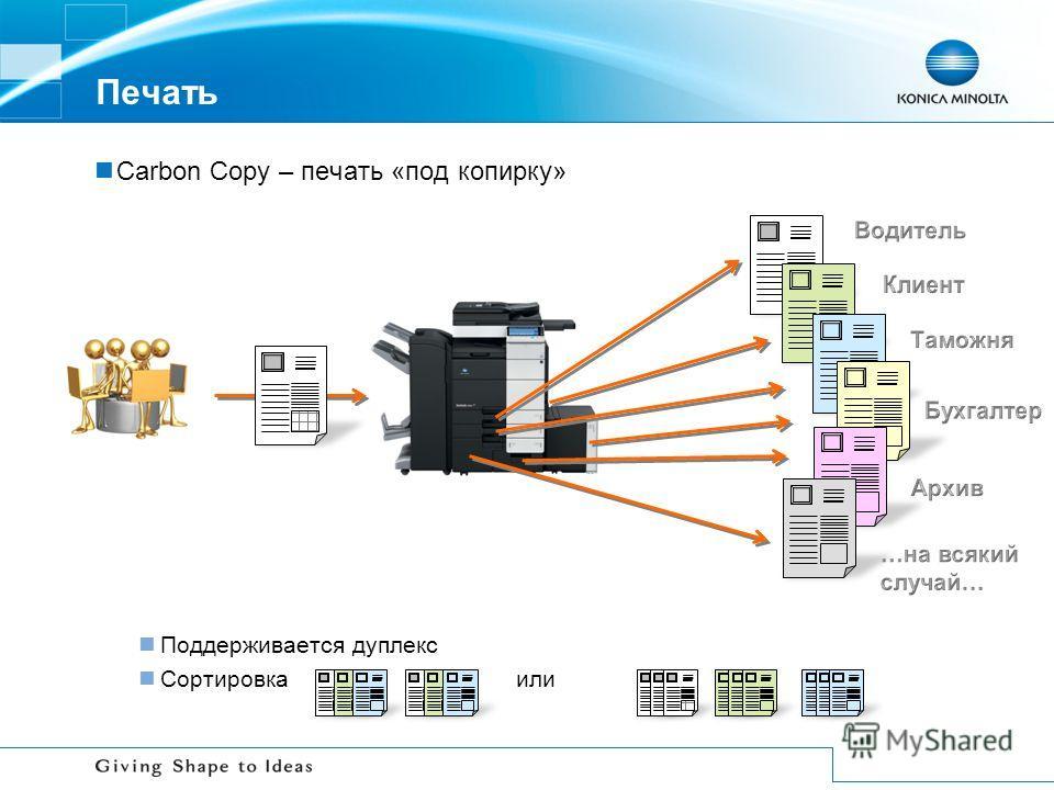 Печать Carbon Copy – печать «под копирку» Поддерживается дуплекс Сортировкаили