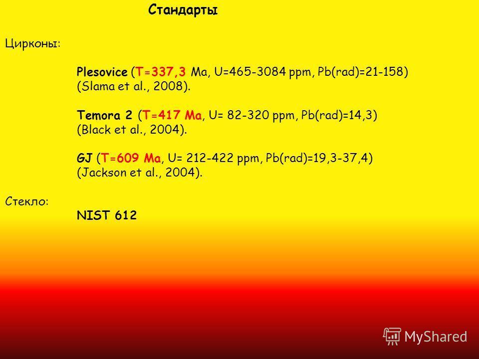 Стандарты Цирконы: Plesovice (T=337,3 Ma, U=465-3084 ppm, Pb(rad)=21-158) (Slama et al., 2008). Temora 2 (T=417 Ma, U= 82-320 ppm, Pb(rad)=14,3) (Black et al., 2004). GJ (T=609 Ma, U= 212-422 ppm, Pb(rad)=19,3-37,4) (Jackson et al., 2004). Стекло: NI