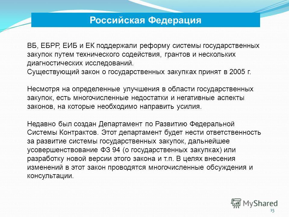 15 ВБ, ЕБРР, ЕИБ и ЕК поддержали реформу системы государственных закупок путем технического содействия, грантов и нескольких диагностических исследований. Существующий закон о государственных закупках принят в 2005 г. Несмотря на определенные улучшен