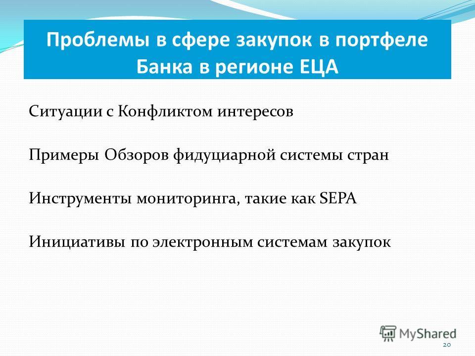 Ситуации с Конфликтом интересов Примеры Обзоров фидуциарной системы стран Инструменты мониторинга, такие как SEPA Инициативы по электронным системам закупок 20 Проблемы в сфере закупок в портфеле Банка в регионе ЕЦА