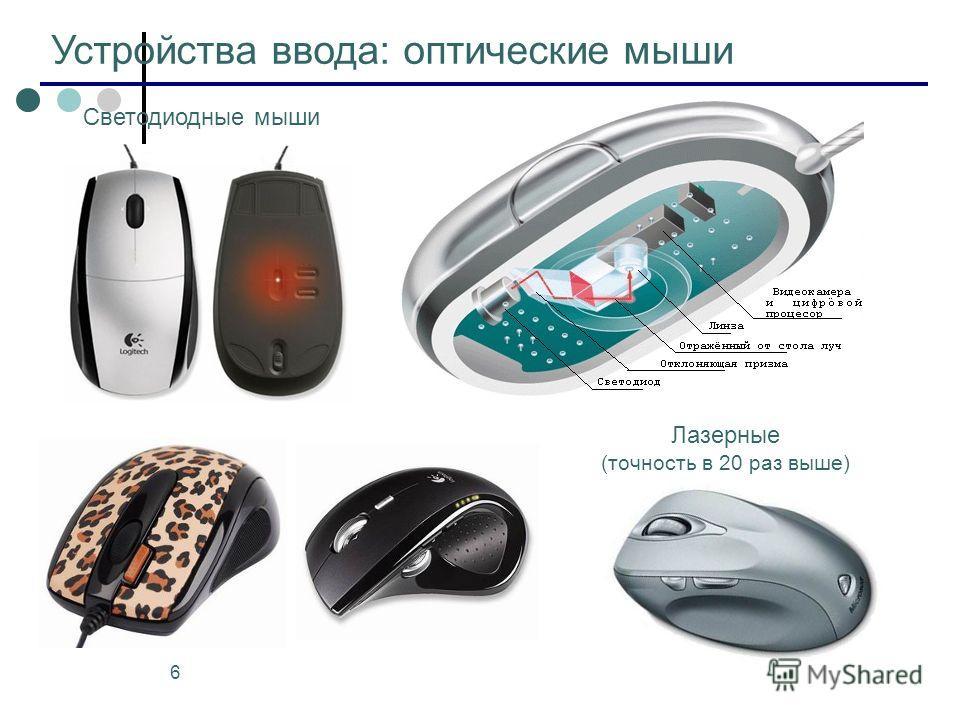6 Устройства ввода: оптические мыши Светодиодные мыши Лазерные (точность в 20 раз выше)