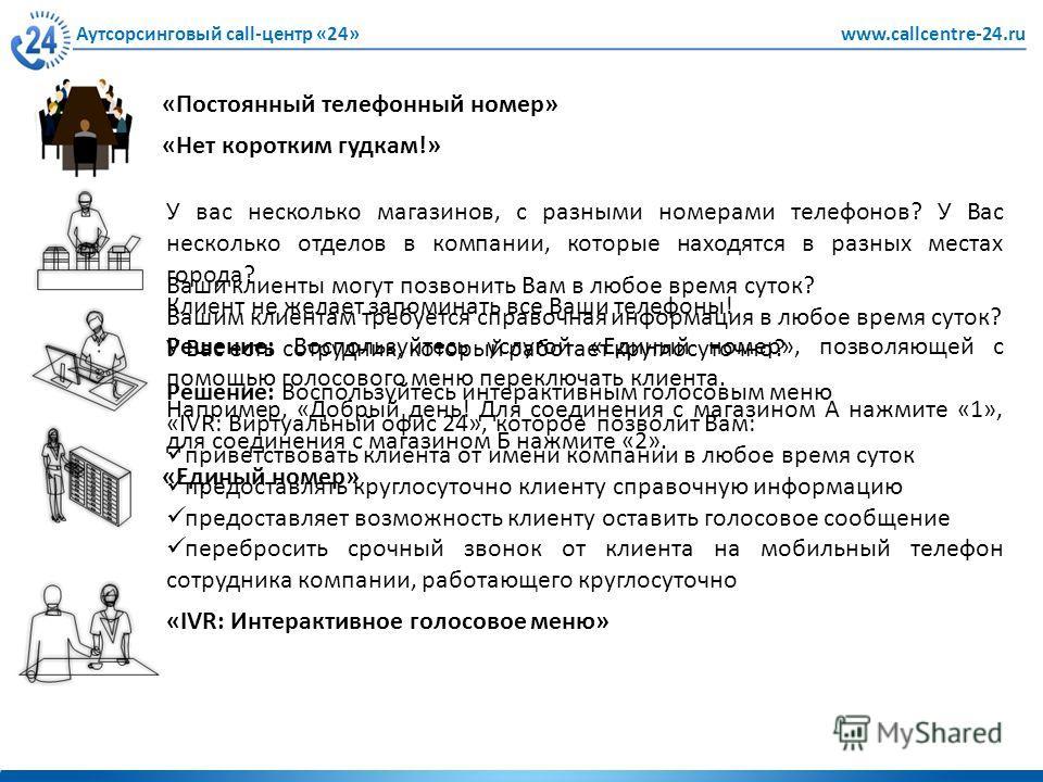 Ваши клиенты могут позвонить Вам в любое время суток? Вашим клиентам требуется справочная информация в любое время суток? У Вас есть сотрудник, который работает круглосуточно? Аутсорсинговый call-центр «24»www.callcentre-24.ru «Нет коротким гудкам!»