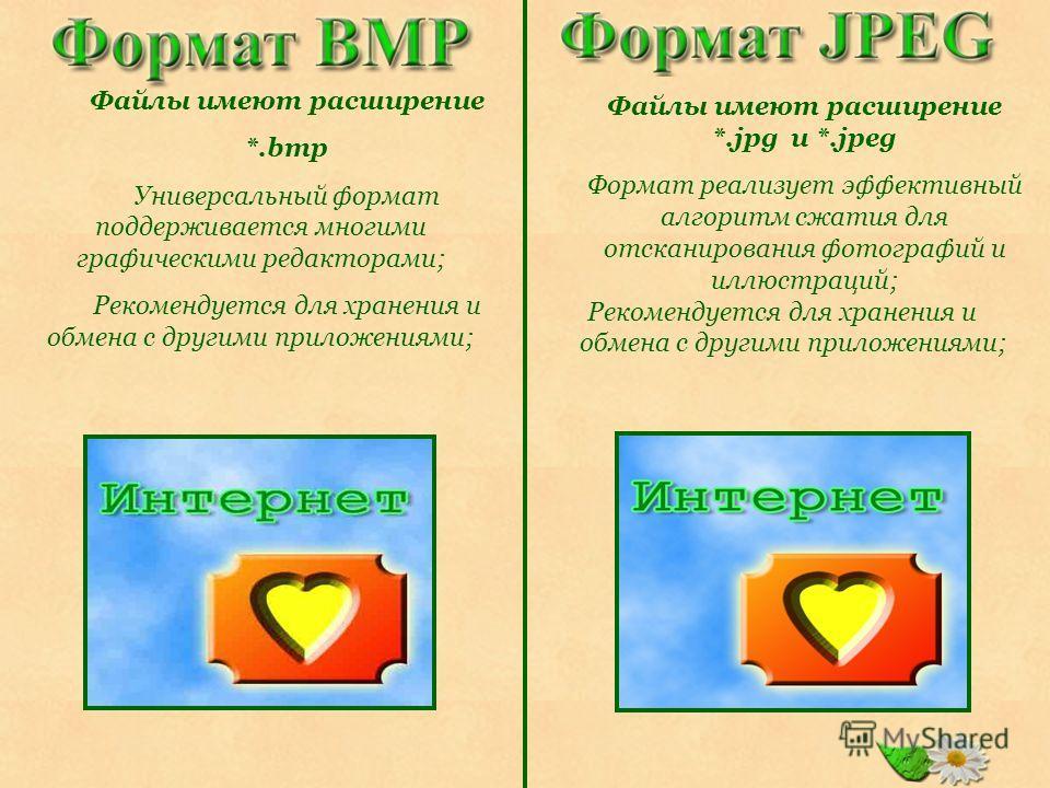 Файлы имеют расширение *.jpg и *.jpeg Формат реализует эффективный алгоритм сжатия для отсканирования фотографий и иллюстраций; Рекомендуется для хранения и обмена с другими приложениями; Файлы имеют расширение *.bmp Универсальный формат поддерживает