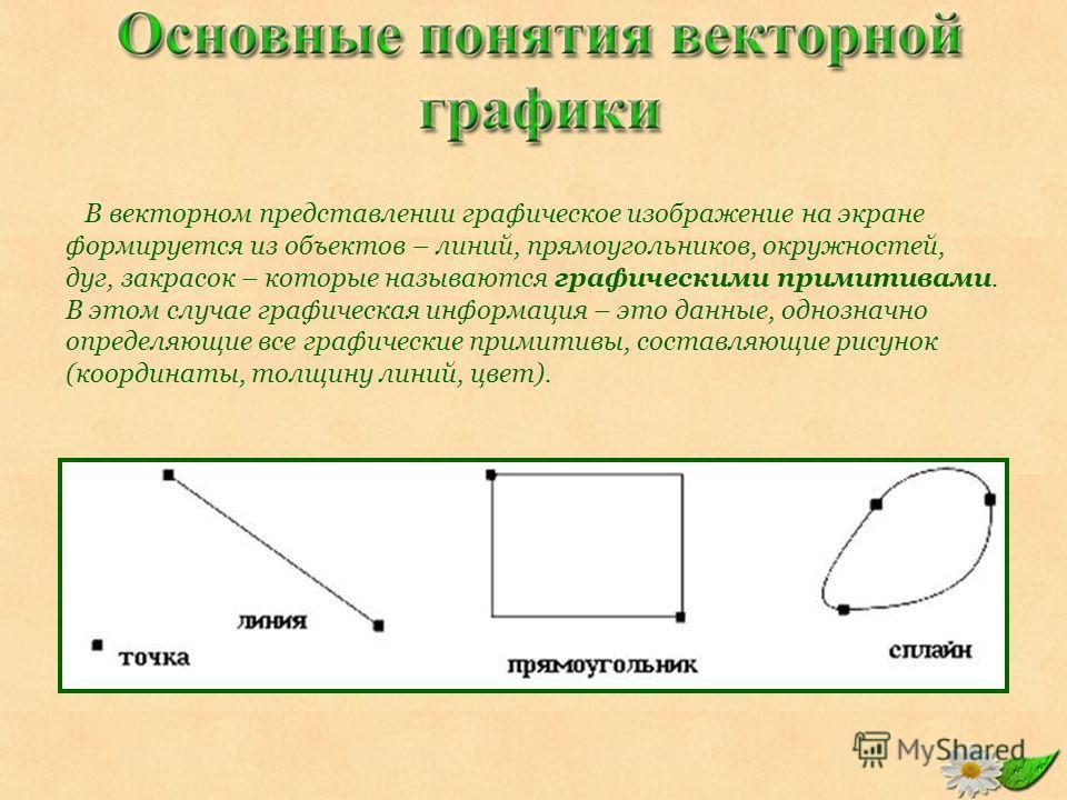 В векторном представлении графическое изображение на экране формируется из объектов – линий, прямоугольников, окружностей, дуг, закрасок – которые называются графическими примитивами. В этом случае графическая информация – это данные, однозначно опре
