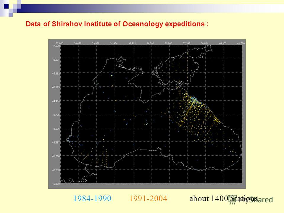 Data of Shirshov Institute of Oceanology expeditions : about 1400 Stations1984-19901991-2004