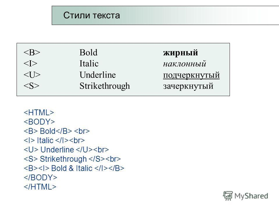 Boldжирный Italicнаклонный Underline подчеркнутый Strikethrough зачеркнутый Bold Italic Underline Strikethrough Bold & Italic Стили текста