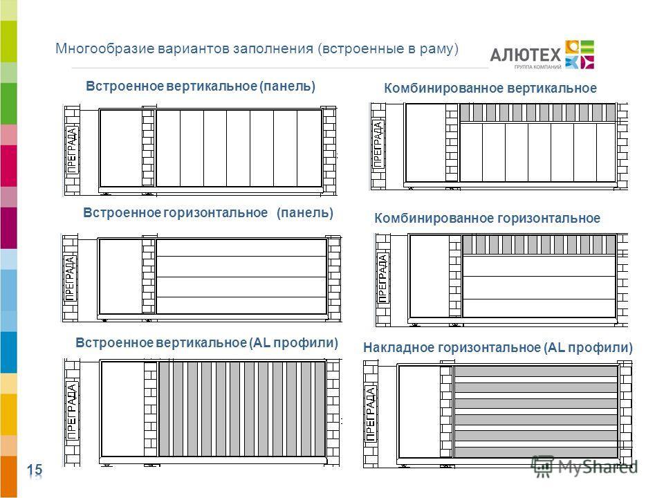 Многообразие вариантов заполнения (встроенные в раму) Встроенное горизонтальное (панель) Встроенное вертикальное (панель) Встроенное вертикальное (AL профили) Комбинированное вертикальное Комбинированное горизонтальное Накладное горизонтальное (AL пр