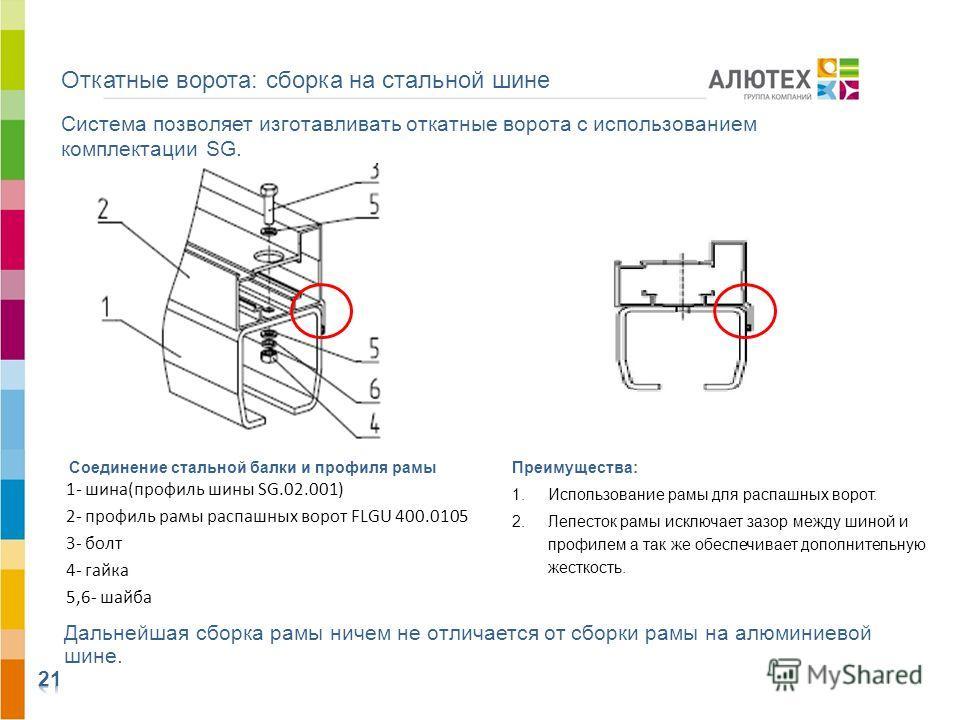 Система позволяет изготавливать откатные ворота с использованием комплектации SG. Соединение стальной балки и профиля рамы 1- шина(профиль шины SG.02.001) 2- профиль рамы распашных ворот FLGU 400.0105 3- болт 4- гайка 5,6- шайба Дальнейшая сборка рам