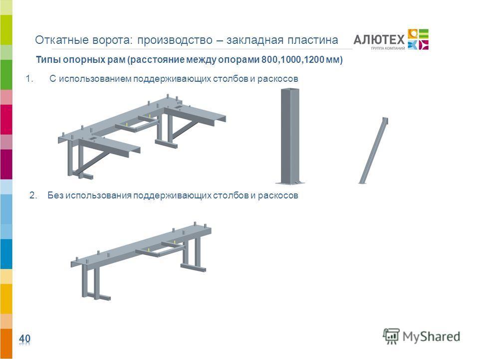 Откатные ворота: производство – закладная пластина 1.С использованием поддерживающих столбов и раскосов Типы опорных рам (расстояние между опорами 800,1000,1200 мм) 2. Без использования поддерживающих столбов и раскосов