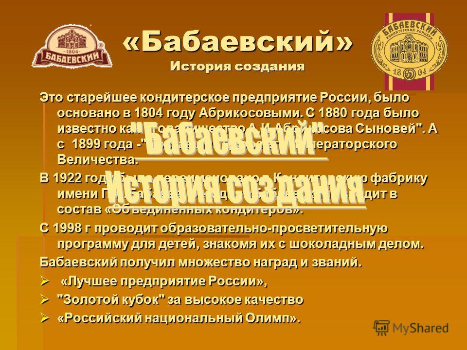«Бабаевский» История создания Это старейшее кондитерское предприятие России, было основано в 1804 году Абрикосовыми. С 1880 года было известно как