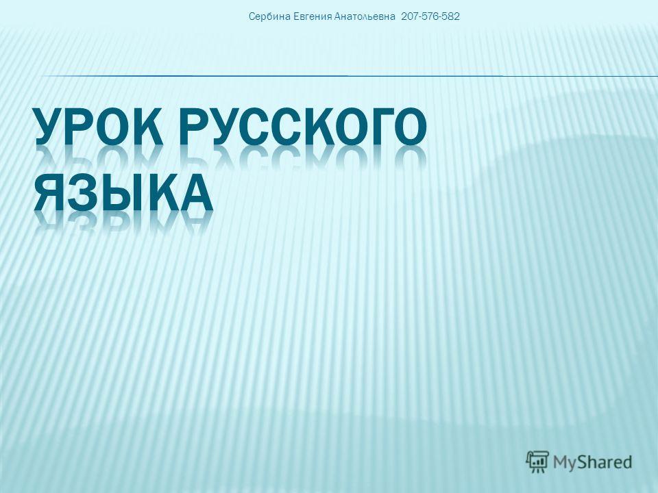 Сербина Евгения Анатольевна 207-576-582