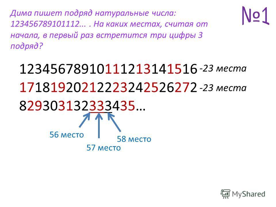 12345678910111213141516 17181920212223242526272 829303132333435… Дима пишет подряд натуральные числа: 123456789101112.... На каких местах, считая от начала, в первый раз встретится три цифры 3 подряд? -23 места 56 место 57 место 58 место -23 места