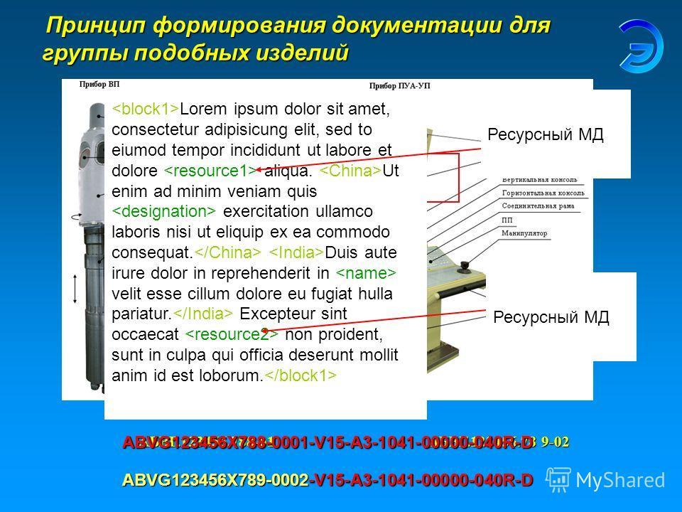 Принцип формирования документации для группы подобных изделий Принцип формирования документации для группы подобных изделийАБВГ.123456.788-019-02АБВГ.123456.78 Lorem ipsum dolor sit amet, consectetur adipisicung elit, sed to eiumod tempor incididunt