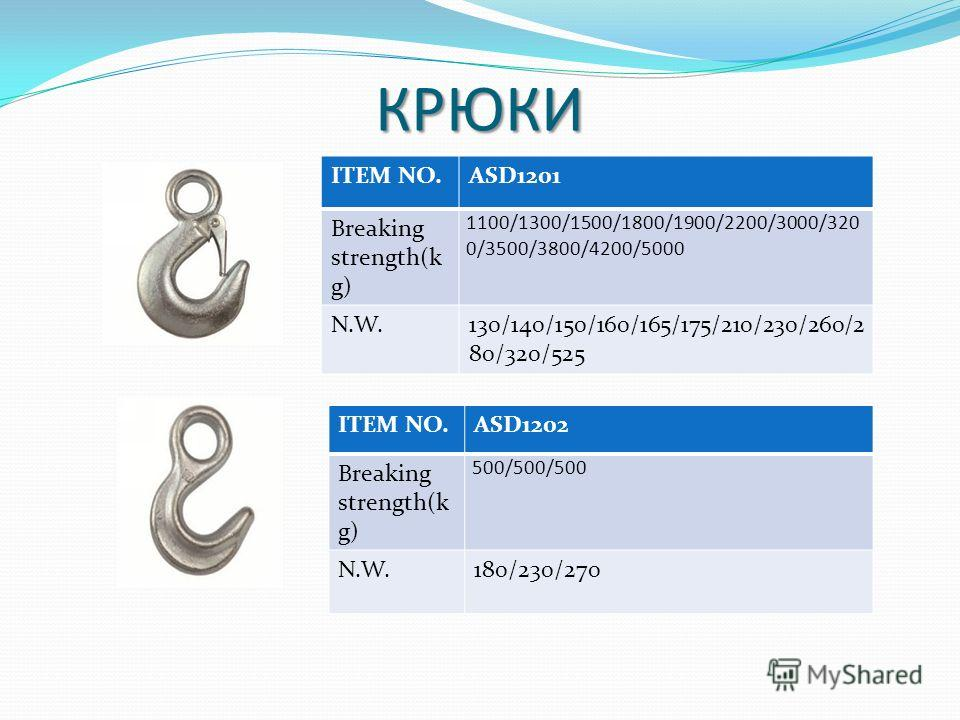 КРЮКИ ITEM NO.ASD1201 Breaking strength(k g) 1100/1300/1500/1800/1900/2200/3000/320 0/3500/3800/4200/5000 N.W.130/140/150/160/165/175/210/230/260/2 80/320/525 ITEM NO.ASD1202 Breaking strength(k g) 500/500/500 N.W.180/230/270