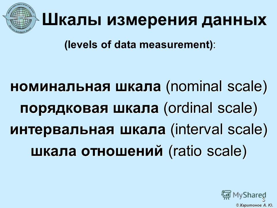 3 Шкалы измерения данных : (levels of data measurement): номинальная шкала (nominal scale) порядковая шкала (ordinal scale) интервальная шкала (interval scale) шкала отношений (ratio scale) © Харитонов А. Ю.