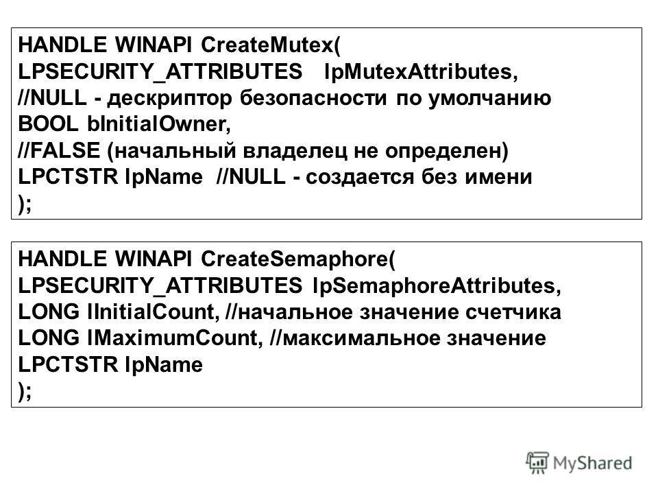 HANDLE WINAPI CreateMutex( LPSECURITY_ATTRIBUTES lpMutexAttributes, //NULL - дескриптор безопасности по умолчанию BOOL bInitialOwner, //FALSE (начальный владелец не определен) LPCTSTR lpName //NULL - создается без имени ); HANDLE WINAPI CreateSemapho