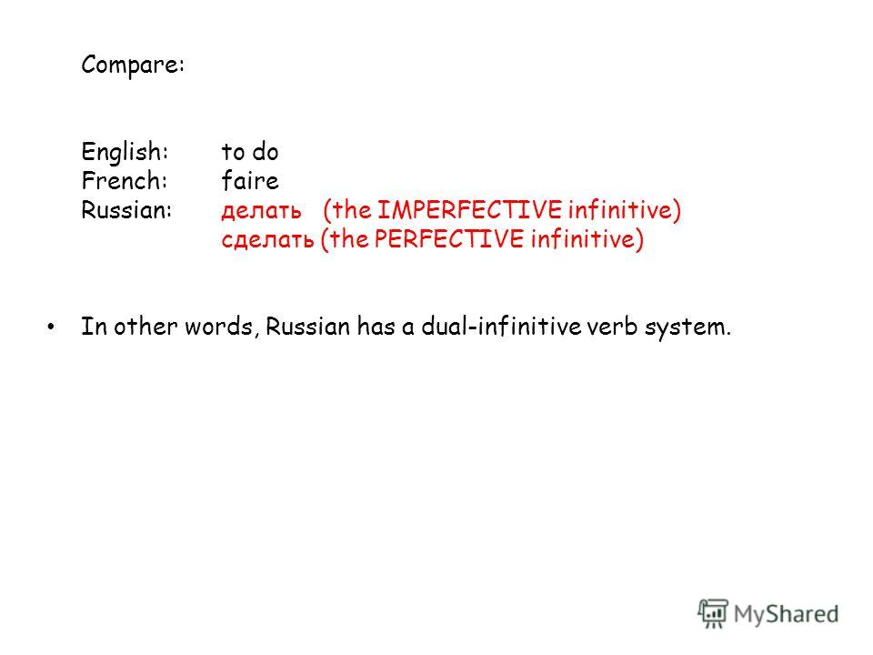 Compare: English:to do French:faire Russian:делать (the IMPERFECTIVE infinitive) cделать (the PERFECTIVE infinitive) In other words, Russian has a dual-infinitive verb system.