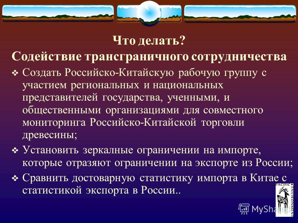 Что делать? Содействие трансграничного сотрудничества Создать Российско-Китайскую рабочую группу с участием региональных и национальных представителей государства, ученными, и общественными организациями для совместного мониторинга Российско-Китайско