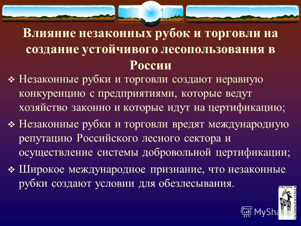 Влияние незаконных рубок и торговли на создание устойчивого лесопользования в России Незаконные рубки и торговли создают неравную конкуренцию с предприятиями, которые ведут хозяйство законно и которые идут на цертификацию; Незаконные рубки и торговли
