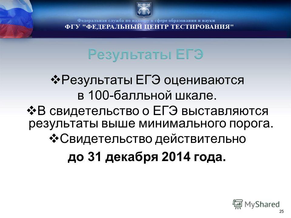 25 Результаты ЕГЭ оцениваются в 100-балльной шкале. В свидетельство о ЕГЭ выставляются результаты выше минимального порога. Свидетельство действительно до 31 декабря 2014 года.