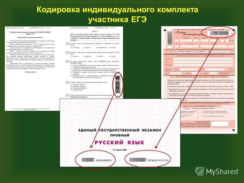 БР 3111111111114КИМ 55515111 Кодировка индивидуального комплекта участника ЕГЭ