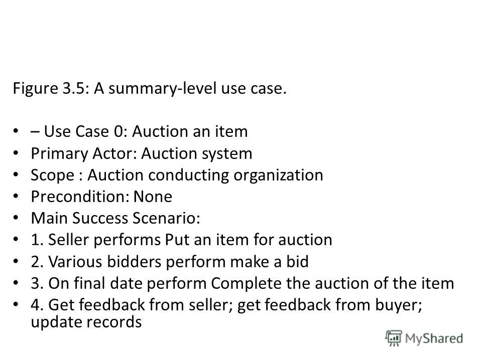Figure 3.5: A summary-level use case. – Use Case 0: Auction an item Primary Actor: Auction system Scope : Auction conducting organization Precondition: None Main Success Scenario: 1. Seller performs Put an item for auction 2. Various bidders perform