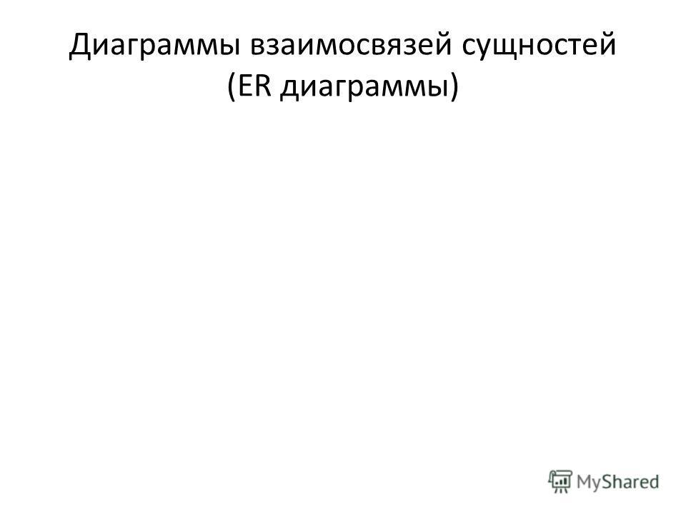 Диаграммы взаимосвязей сущностей (ER диаграммы)