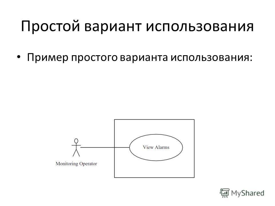 Простой вариант использования Пример простого варианта использования: