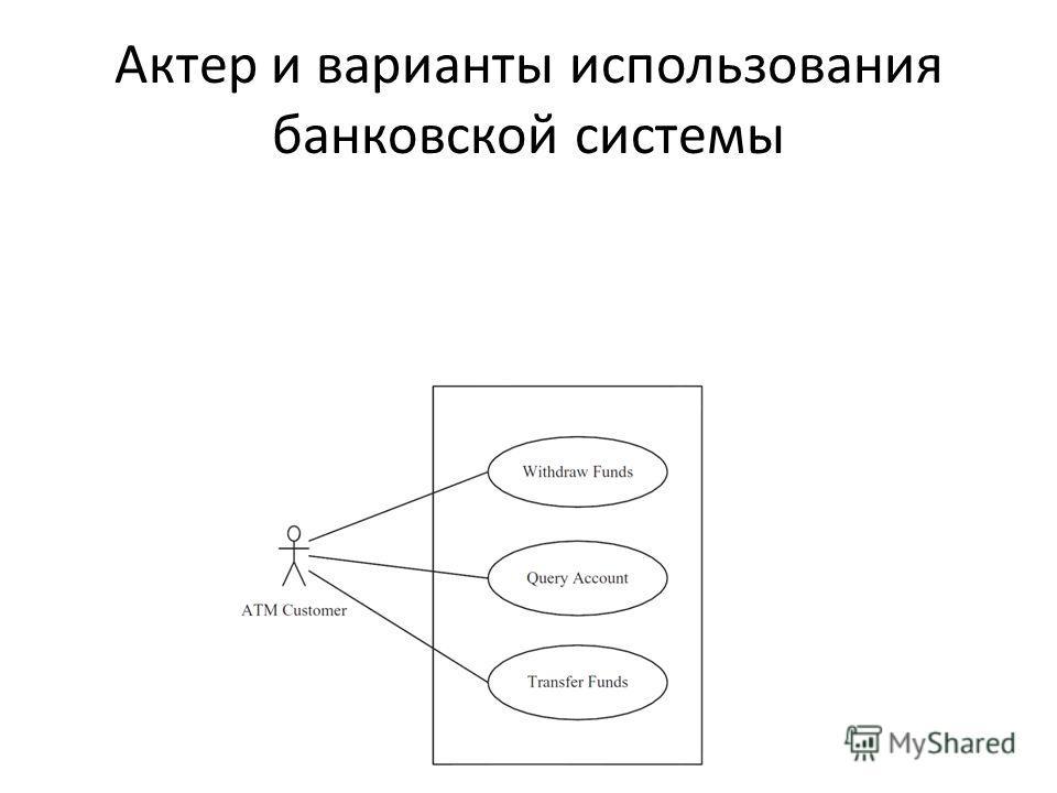 Актер и варианты использования банковской системы
