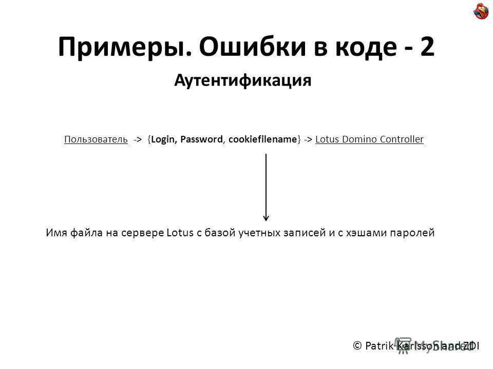 Примеры. Ошибки в коде - 2 Аутентификация Пользователь -> {Login, Password, cookiefilename} -> Lotus Domino Controller Имя файла на сервере Lotus с базой учетных записей и с хэшами паролей © Patrik Karlsson and ZDI