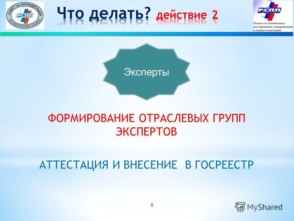 8 ФОРМИРОВАНИЕ ОТРАСЛЕВЫХ ГРУПП ЭКСПЕРТОВ АТТЕСТАЦИЯ И ВНЕСЕНИЕ В ГОСРЕЕСТР