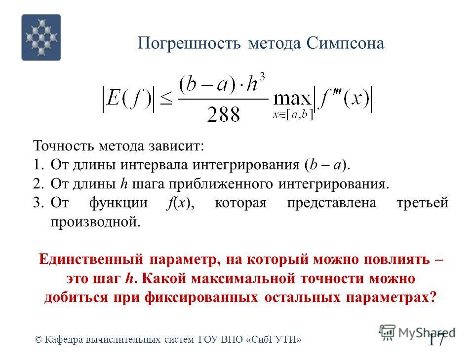 Погрешность метода Симпсона 17 © Кафедра вычислительных систем ГОУ ВПО «СибГУТИ» Точность метода зависит: 1.От длины интервала интегрирования (b – a). 2.От длины h шага приближенного интегрирования. 3.От функции f(x), которая представлена третьей про