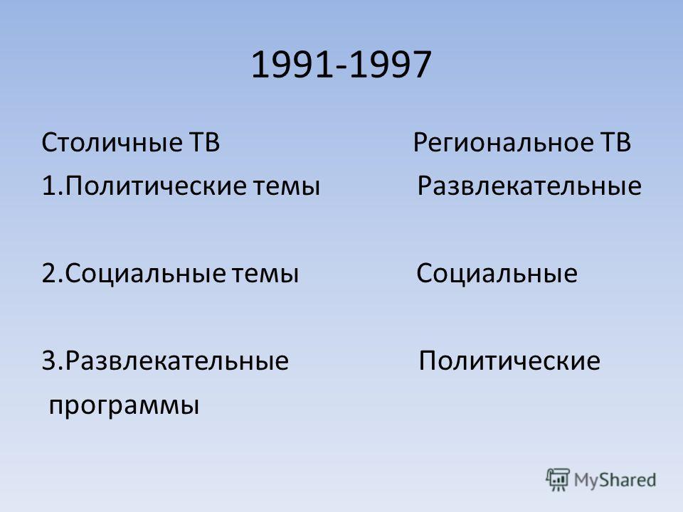 1991-1997 Столичные ТВ Региональное ТВ 1.Политические темы Развлекательные 2.Социальные темы Социальные 3.Развлекательные Политические программы