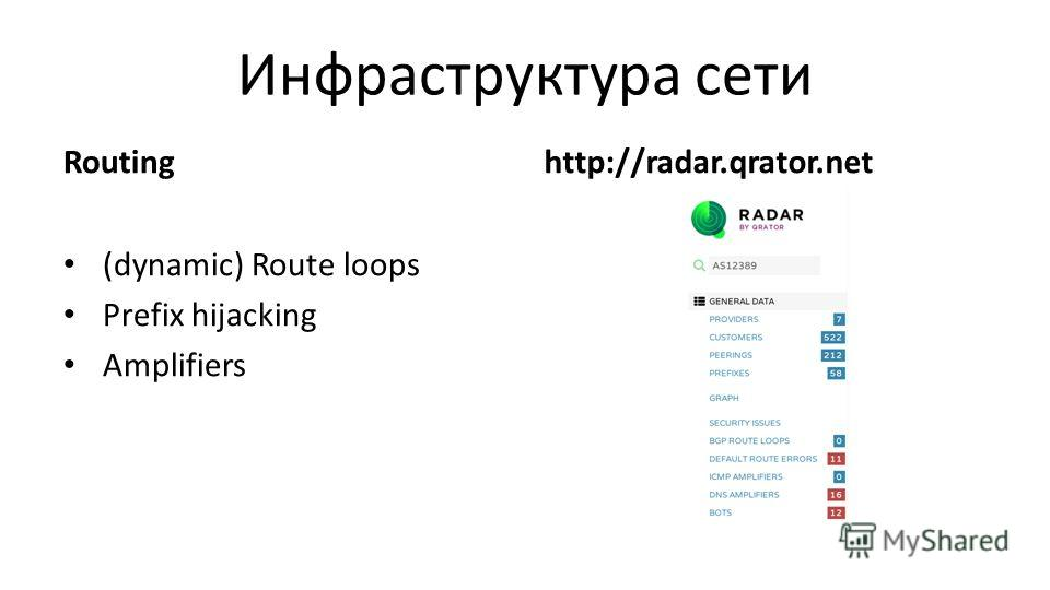 Routing (dynamic) Route loops Prefix hijacking Amplifiers http://radar.qrator.net