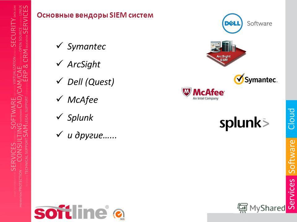 Symantec ArcSight Dell (Quest) McAfee Splunk и другие…... Основные вендоры SIEM систем