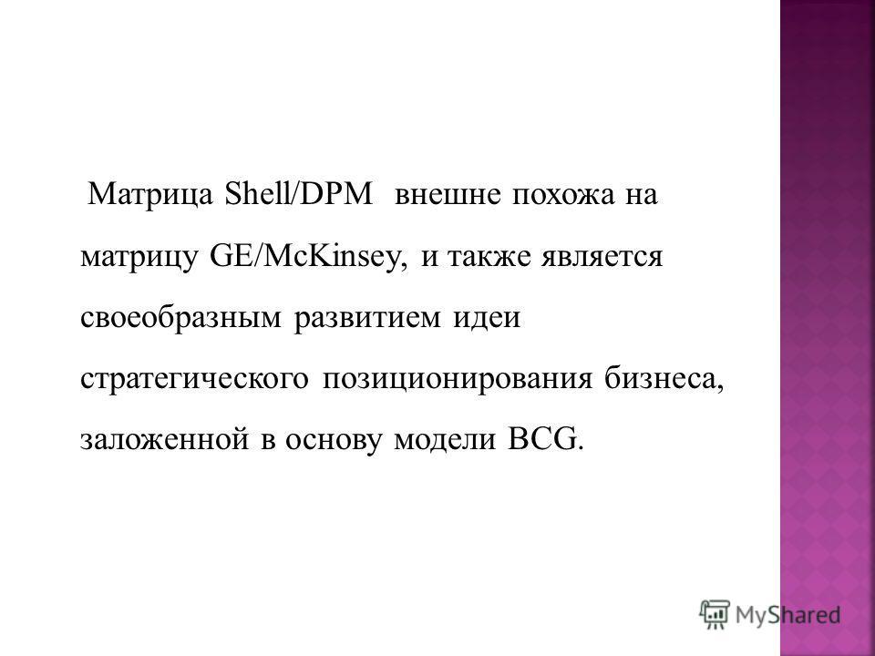 Матрица Shell/DPM внешне похожа на матрицу GE/McKinsey, и также является своеобразным развитием идеи cтратегического позиционирования бизнеса, заложенной в основу модели BCG.