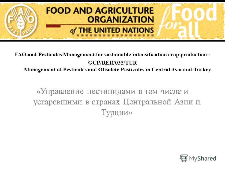 FAO and Pesticides Management for sustainable intensification crop production : GCP/RER/035/TUR Management of Pesticides and Obsolete Pesticides in Central Asia and Turkey «Управление пестицидами в том числе и устаревшими в странах Центральной Азии и