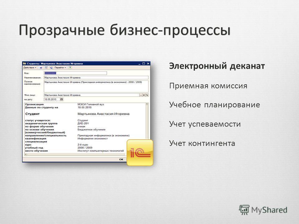 Электронный деканат Приемная комиссия Учебное планирование Учет успеваемости Учет контингента Прозрачные бизнес-процессыПрозрачные бизнес-процессы