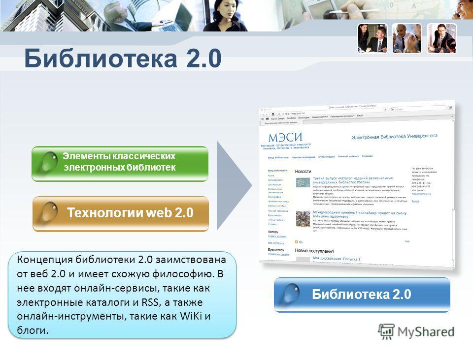 Библиотека 2.0 Элементы классических электронных библиотек Технологии web 2.0 Библиотека 2.0 Концепция библиотеки 2.0 заимствована от веб 2.0 и имеет схожую философию. В нее входят онлайн-сервисы, такие как электронные каталоги и RSS, а также онлайн-