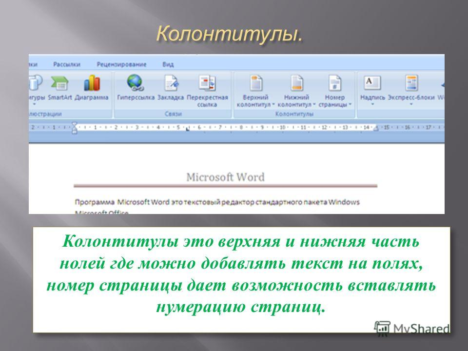 Колонтитулы. Колонтитулы это верхняя и нижняя часть нолей где можно добавлять текст на полях, номер страницы дает возможность вставлять нумерацию страниц.