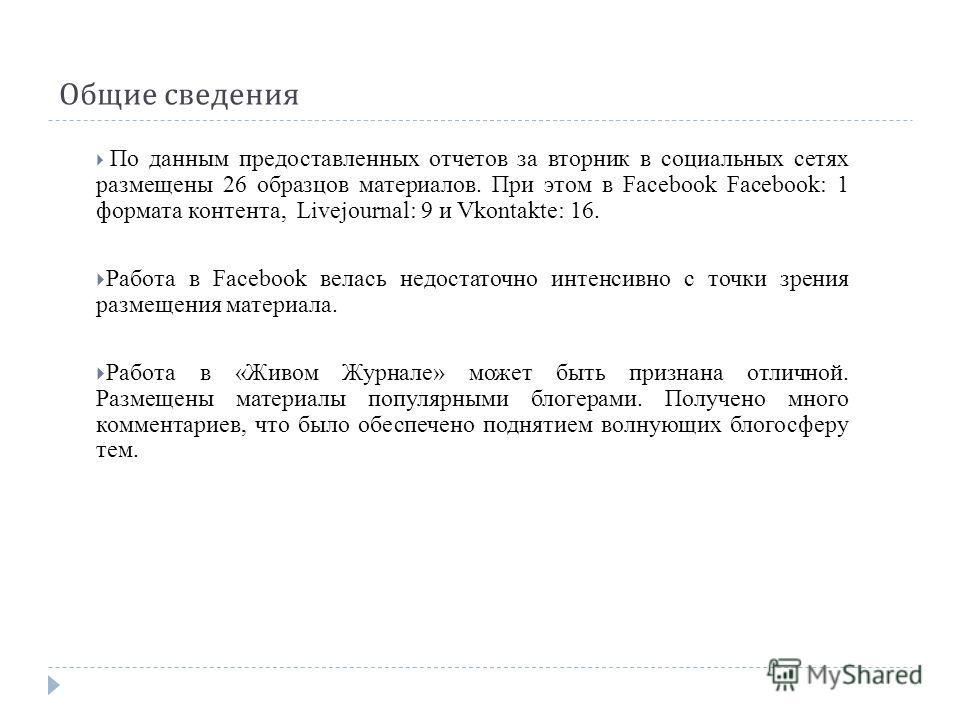 Общие сведения По данным предоставленных отчетов за вторник в социальных сетях размещены 26 образцов материалов. При этом в Facebook Facebook: 1 формата контента, Livejournal: 9 и Vkontakte: 16. Работа в Facebook велась недостаточно интенсивно с точк