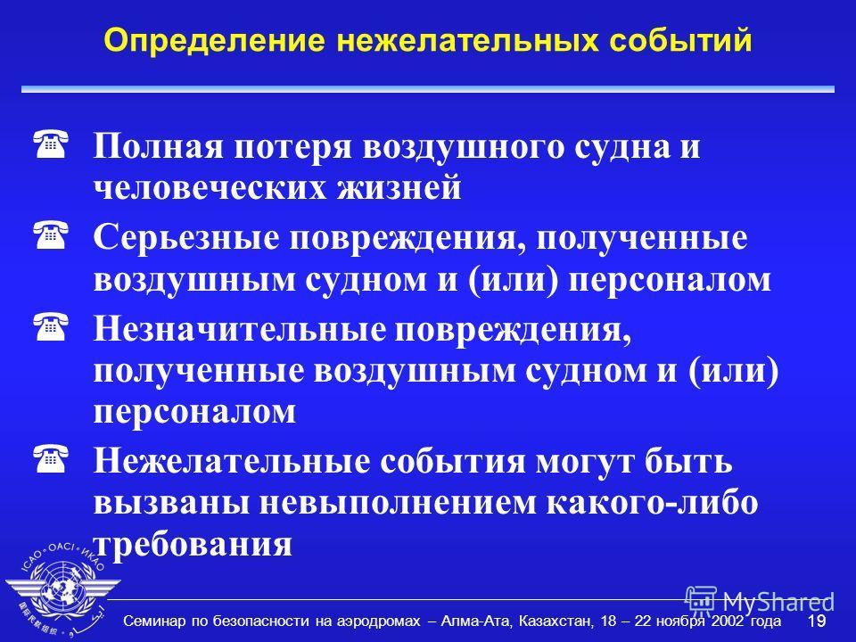 Семинар по безопасности на аэродромах – Алма-Ата, Казахстан, 18 – 22 ноября 2002 года 19 Определение нежелательных событий (Полная потеря воздушного судна и человеческих жизней (Серьезные повреждения, полученные воздушным судном и (или) персоналом (Н