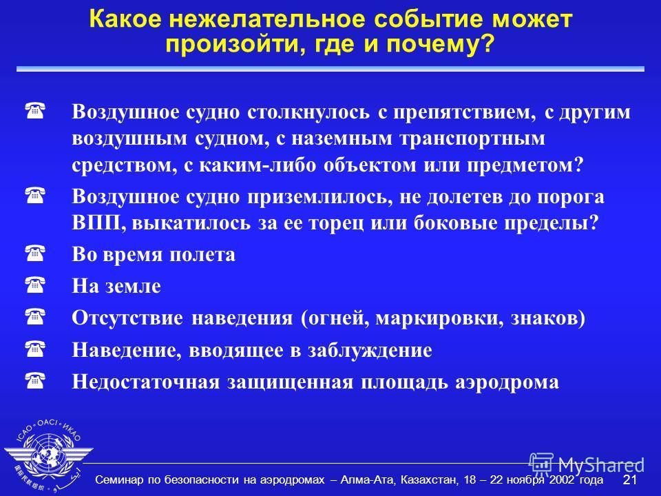 Семинар по безопасности на аэродромах – Алма-Ата, Казахстан, 18 – 22 ноября 2002 года 21 Какое нежелательное событие может произойти, где и почему? (Воздушное судно столкнулось с препятствием, с другим воздушным судном, с наземным транспортным средст