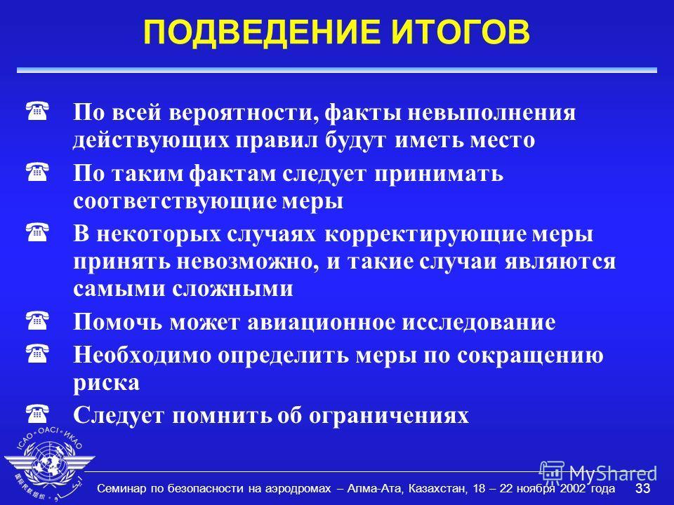 Семинар по безопасности на аэродромах – Алма-Ата, Казахстан, 18 – 22 ноября 2002 года 33 ПОДВЕДЕНИЕ ИТОГОВ (По всей вероятности, факты невыполнения действующих правил будут иметь место (По таким фактам следует принимать соответствующие меры (В некото